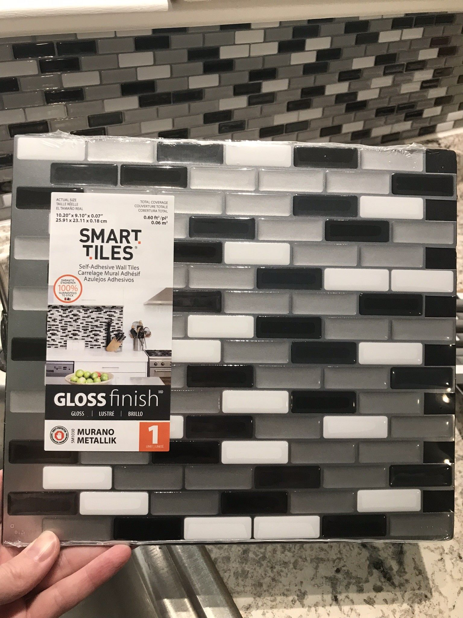 Smart Tiles Murano Metallik Black Grey And White 10 20 In W X 9 10 In H Decorative Mosaic Wall Tile Backsplash 4 Pack Sm1030 4 The Home Depot Glass Tile Backsplash Glass Tile Backsplash