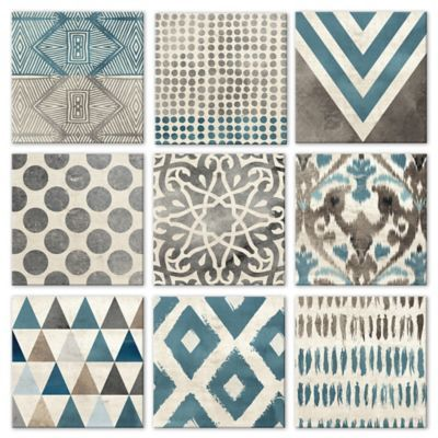 Tile & Decor Buy 9Piece Grey & Teal Geometric Tiles Wall Décor Set From Bed