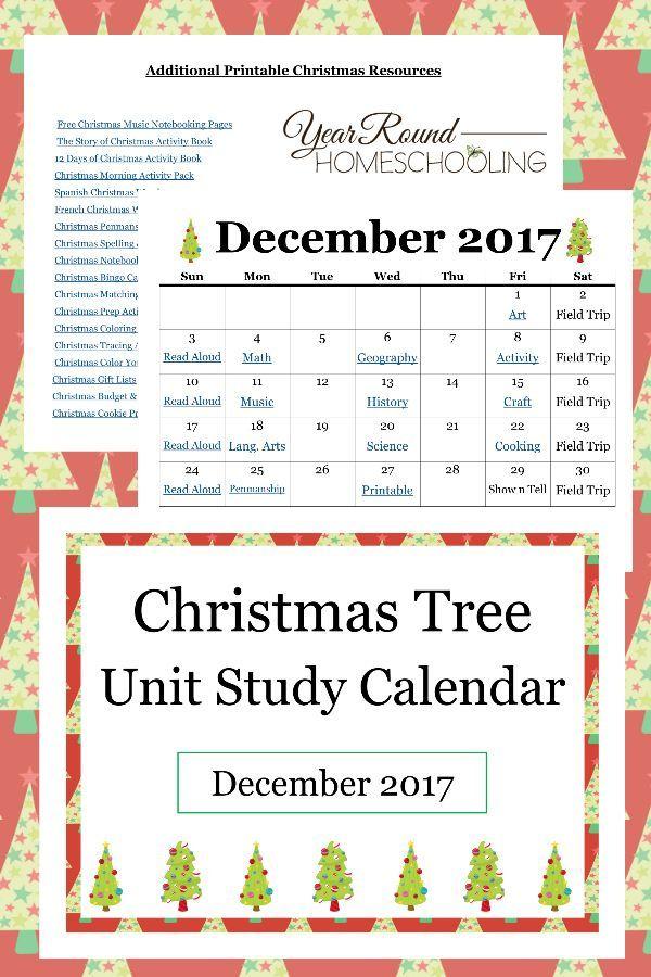 Christmas Tree Unit Study Calendar   Study calendar, Homeschool, Free homeschool curriculum