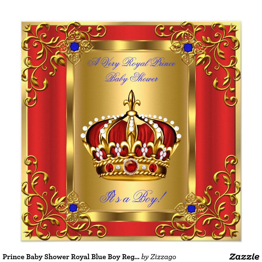 Prince Baby Shower Royal Blue Boy Regal Red Gold Invitation ...