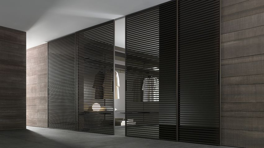 "Sliding Doors ""stripe"" by Rimadesio - brown aluminium structure and grey transparent glass"