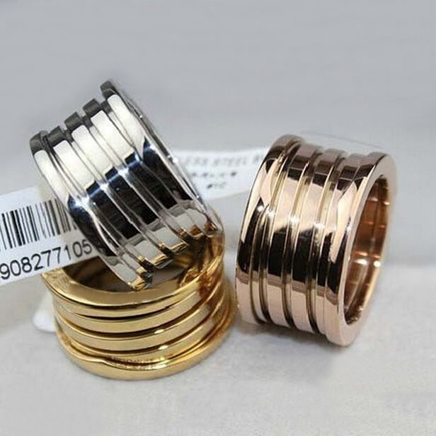 Pure titanium stainless steel 5 band spring gear ring wide yellow/rose/silver men women luxury couple engagement brand