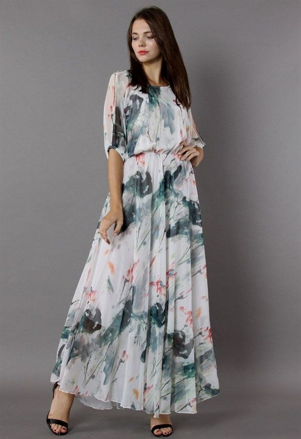 Chicwishpaint In Grace Watercolor Maxi Dress White Xl Maxi Dress Maxi Slip Dress Floral Chiffon Maxi Dress