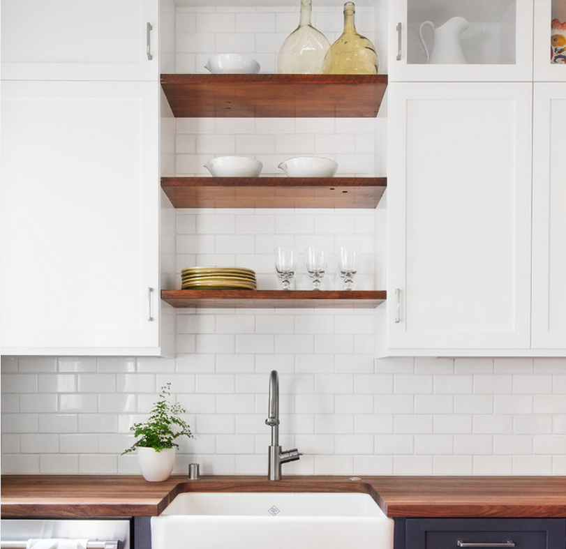 34 Best Kitchen Countertop Organizing Ideas For 2019: Idea For Open Shelves Above The Sink