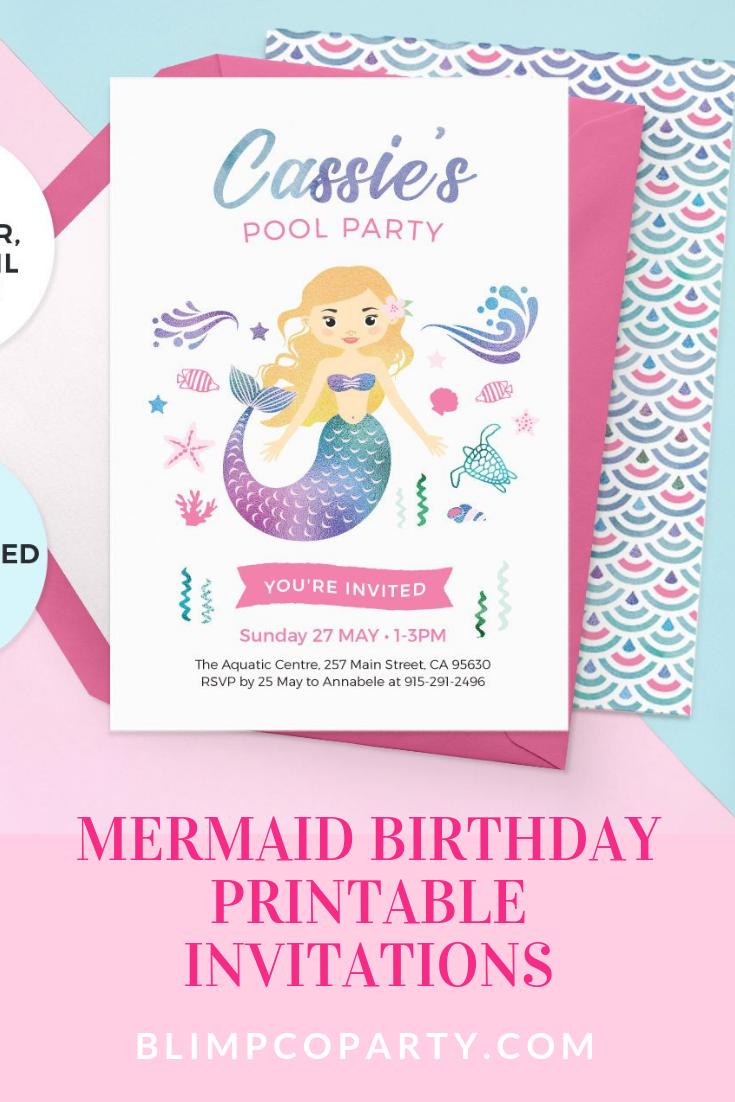 graphic regarding Printable Mermaid Invitations titled Mermaid birthday invites, Mermaid invitation printable