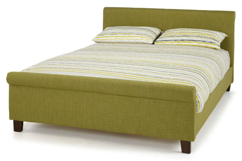 For a contemporary twist chose a fabric bed in olive.