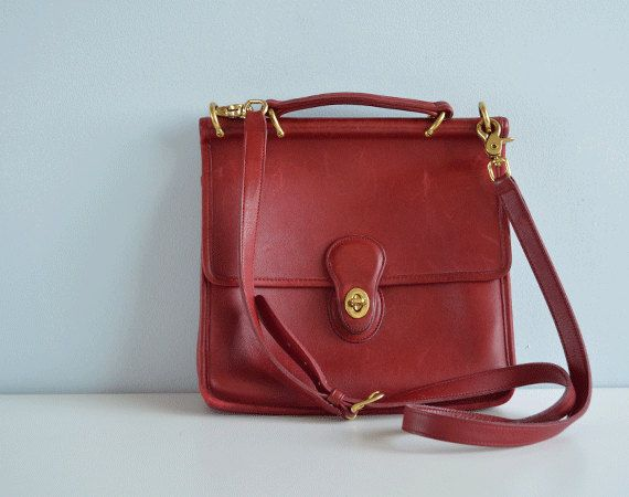 Vintage CHERRY Red Coach Bag / 1980s Coach Willis Red by ...
