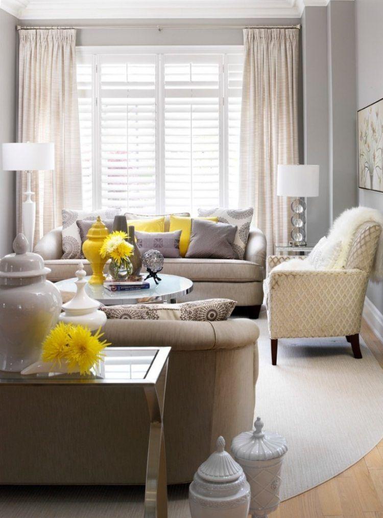 murs en gris clair et deux canaps gris dans le salon