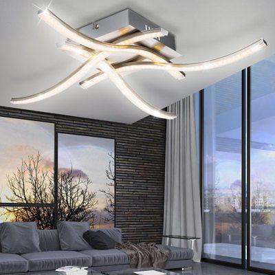 15 Watt LED Decken Lampe Kristall Optik Beleuchtung gewellt Wohn