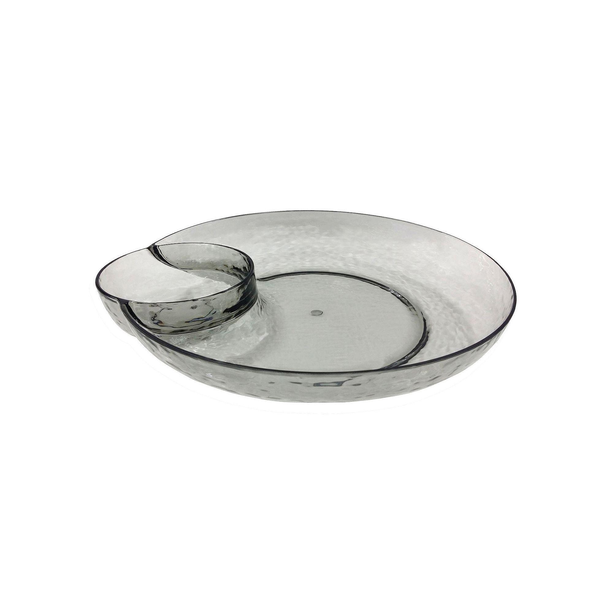 Food Network Smoke Textured Acrylic Chip N Dip Tray Dip Tray