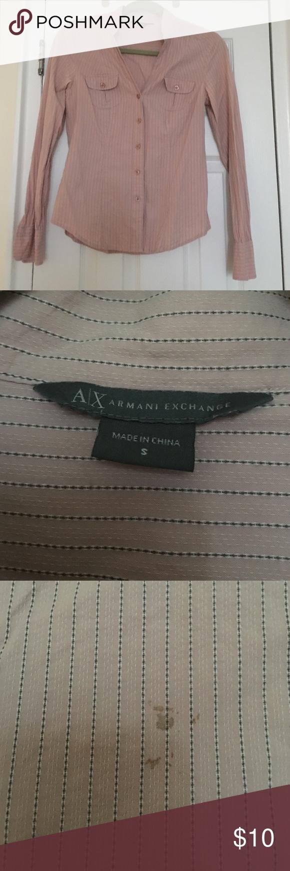 Armani Exchange button down Dry pink w/ gray stripes. Armani Exchange button down. Small stain on back Armani Exchange Tops Button Down Shirts