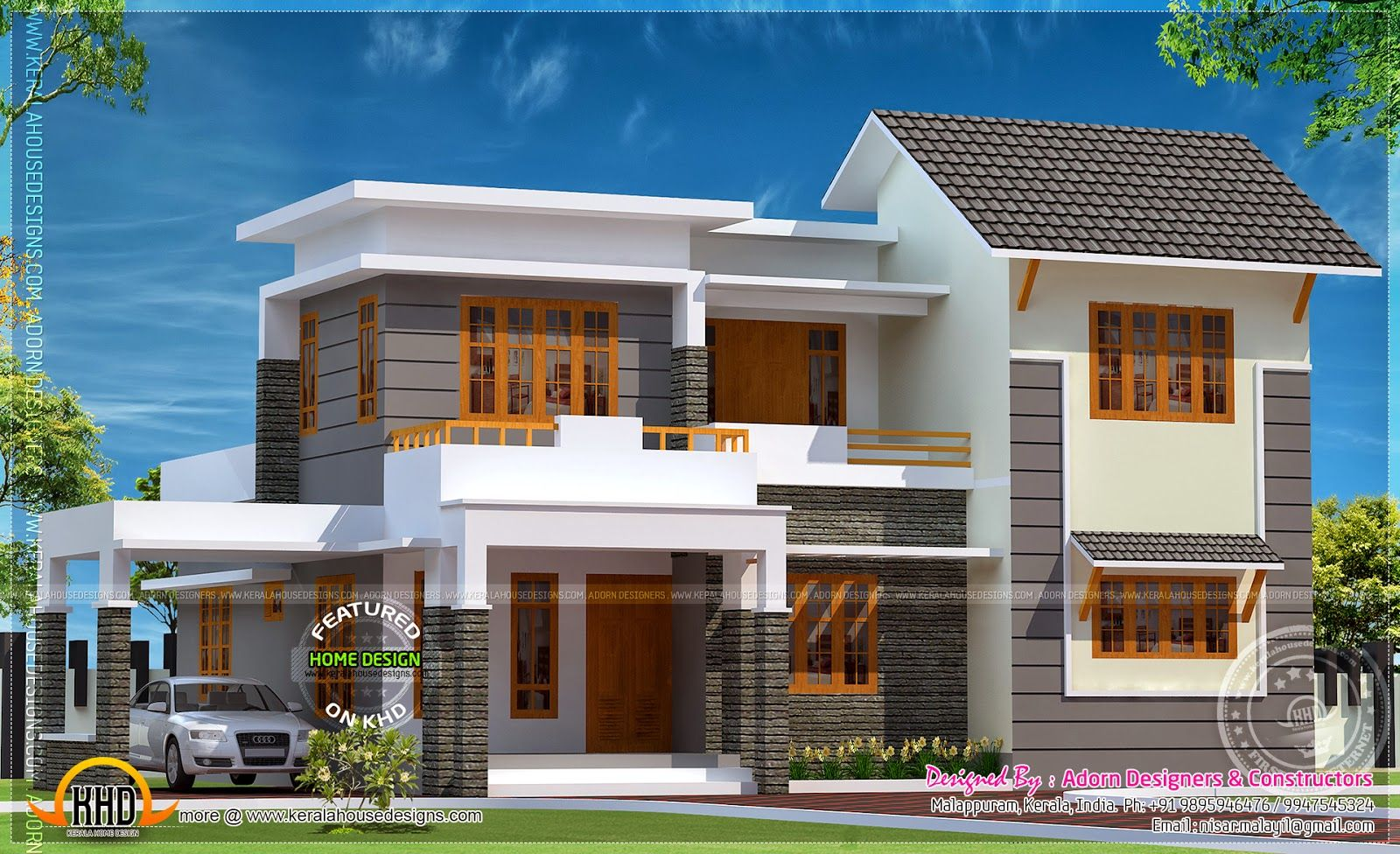 Contemporary Home Designs At Malappuram Part - 19: 1850 Square Feet 4 Bedroom Elegant Looking House Elevation Design By Adorn  Designers U0026 Constructors, Malappuram, Kerala