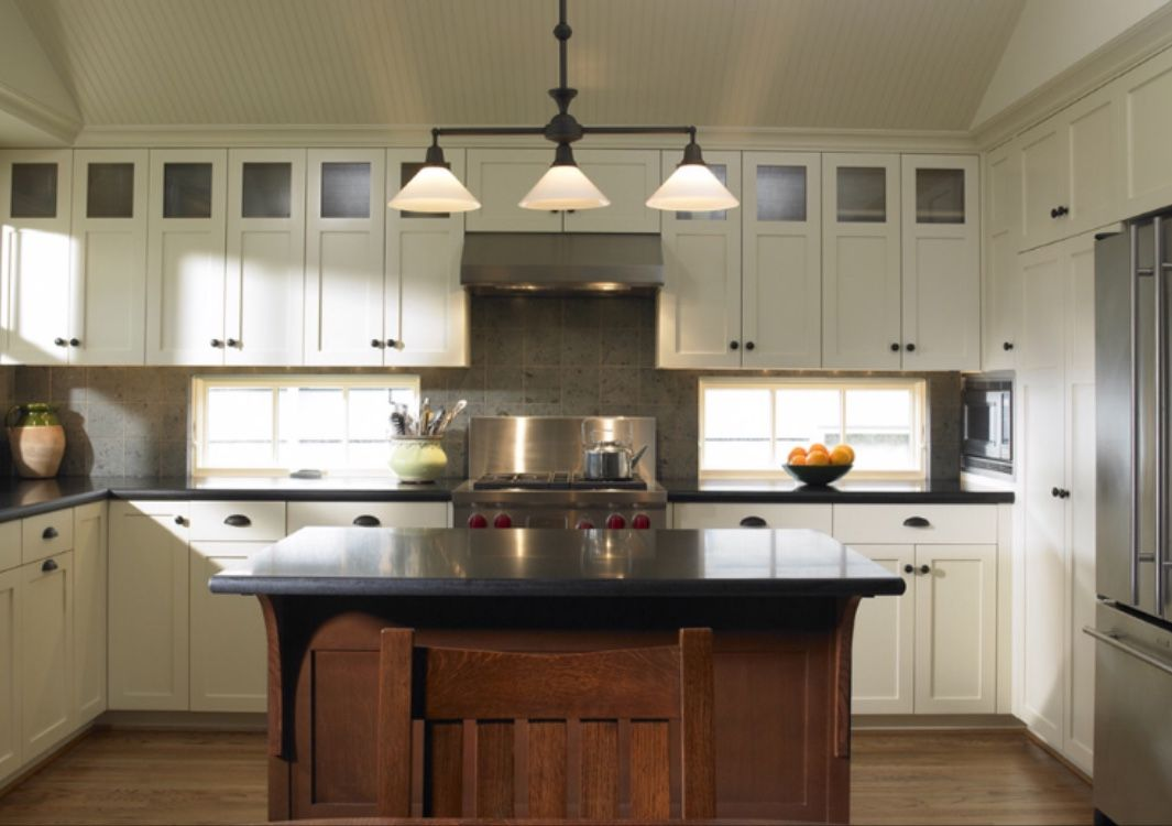 White Craftsman Kitchen Cabinets All The Way To The Ceiling