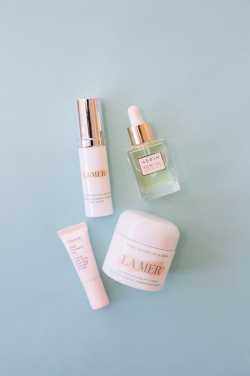 La Mer Moisturizing Soft Cream, Aerin Rose Oil, Onomie Illuminating Eye Treatment, La Mer Illuminating Eye Gel