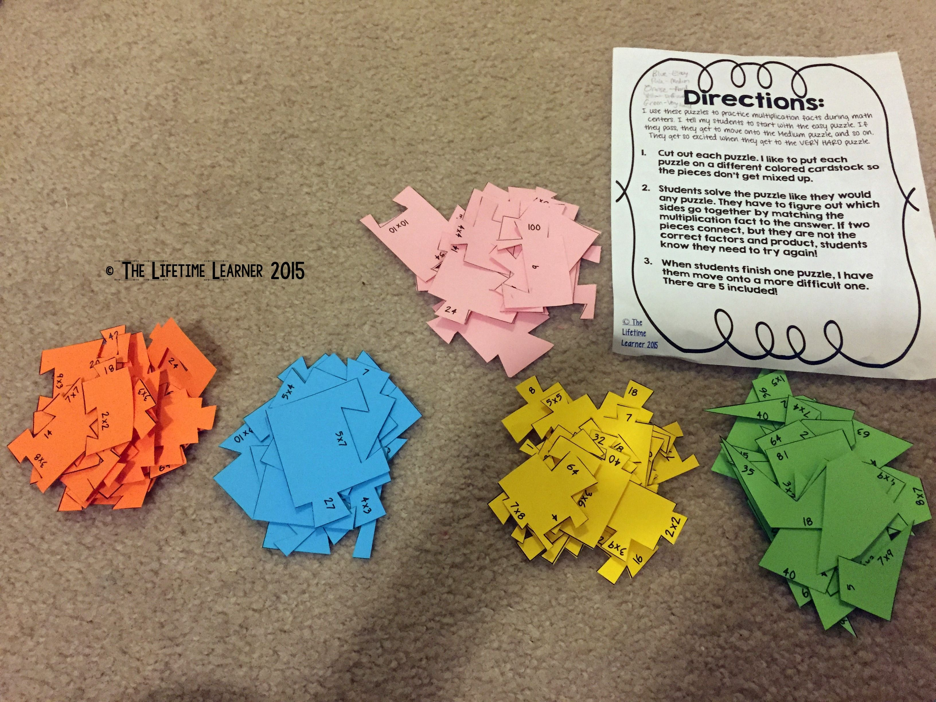 I Use These Multiplication Puzzles In My Classroom To Help