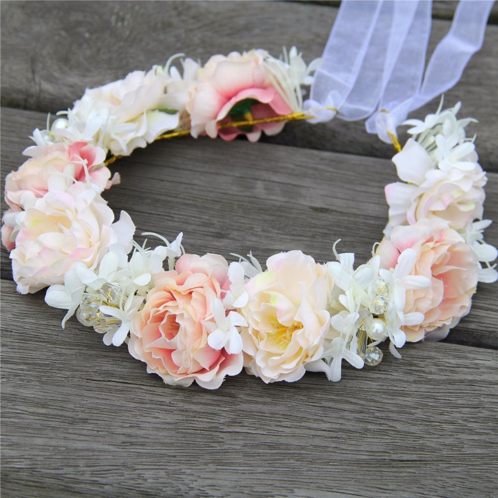 Online shopping at a cheapest price for automotive phones high quality handmade bridal crystal hair flower crown wedding headwear woman girls party prom flower garland izmirmasajfo