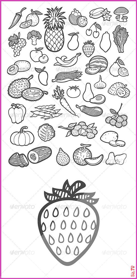 Fruit and Vegetable Icons Sketch artistic artwork avocado banana clip art collection design doodle