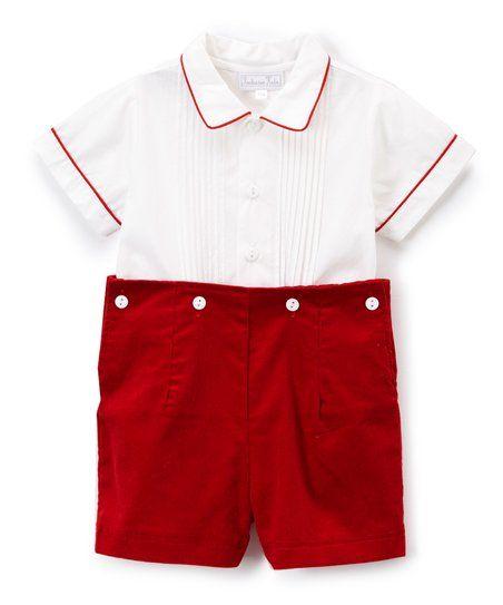 52edcf060 Fantaisie Kids White Pin Tuck Button-Up   Red Corduroy Shorts ...