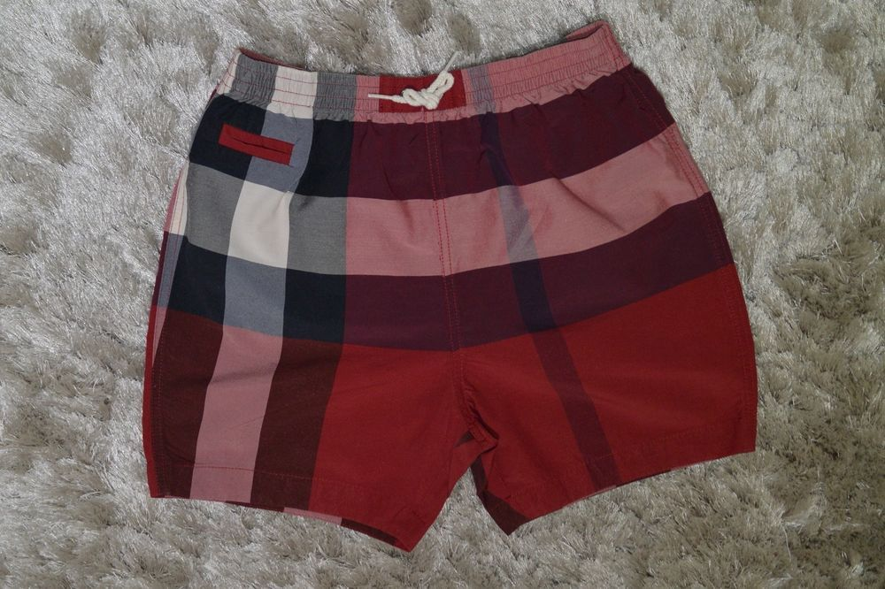 e22ac252f Burberry Toddler Boy s Check Swim Trunks- Red Check (Size 3T ...