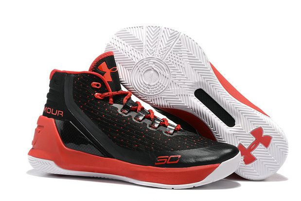 2017-2018 Sale UA Curry 3 Lastest Under Armour Curry 3 Black Red White  Basketball