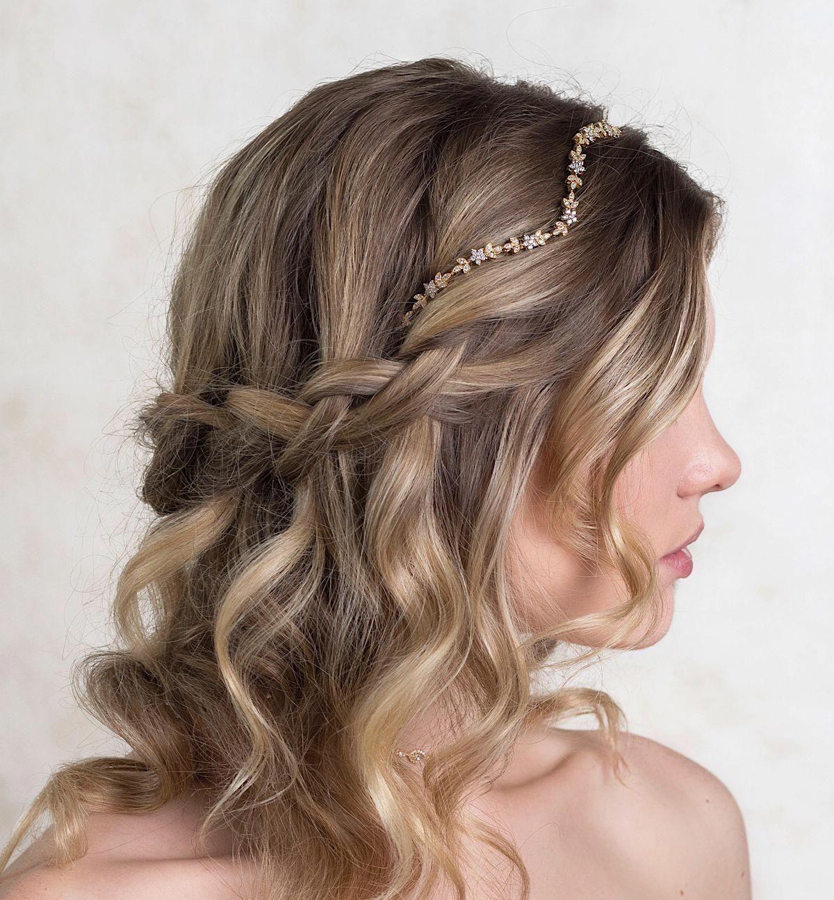 Nature inspired floral leaf bridal headband handcrafted
