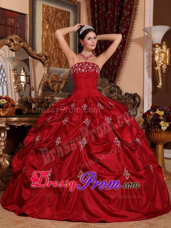 c59030a60e Ruched Appliques Wine Red Taffeta Quinceanera Dress with Pick-ups ...