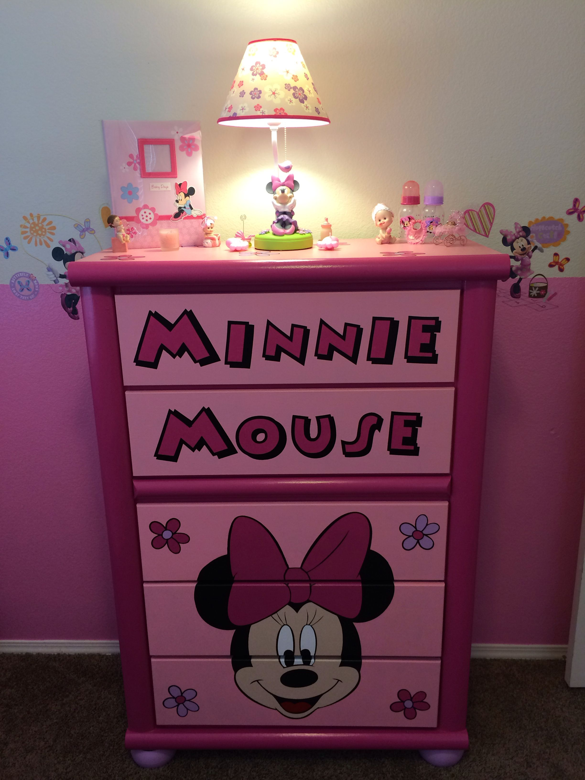 custom minnie dresser accessories minnie mouse nursery. Black Bedroom Furniture Sets. Home Design Ideas