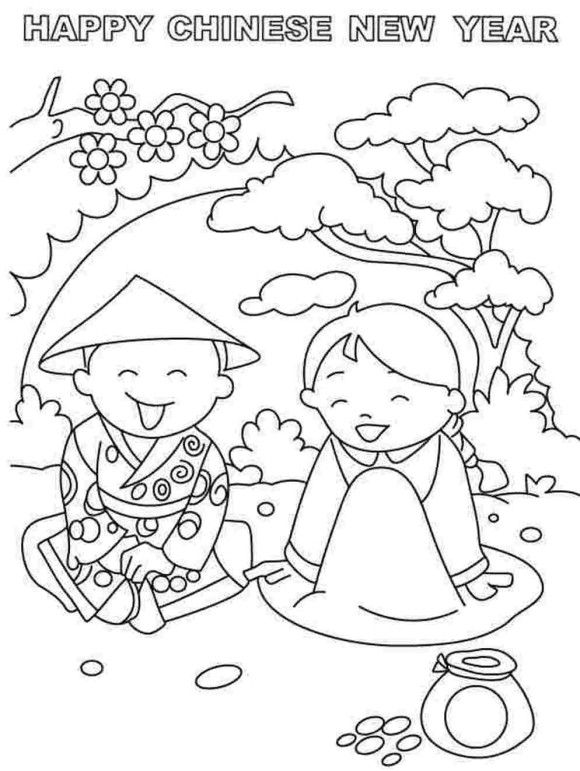 Kids Chinese New Year Coloring Pages YearsHello Kitty