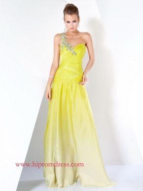 Yellow A-Line One Shoulder Zipper Floor Length Evening Dresses With Jewel