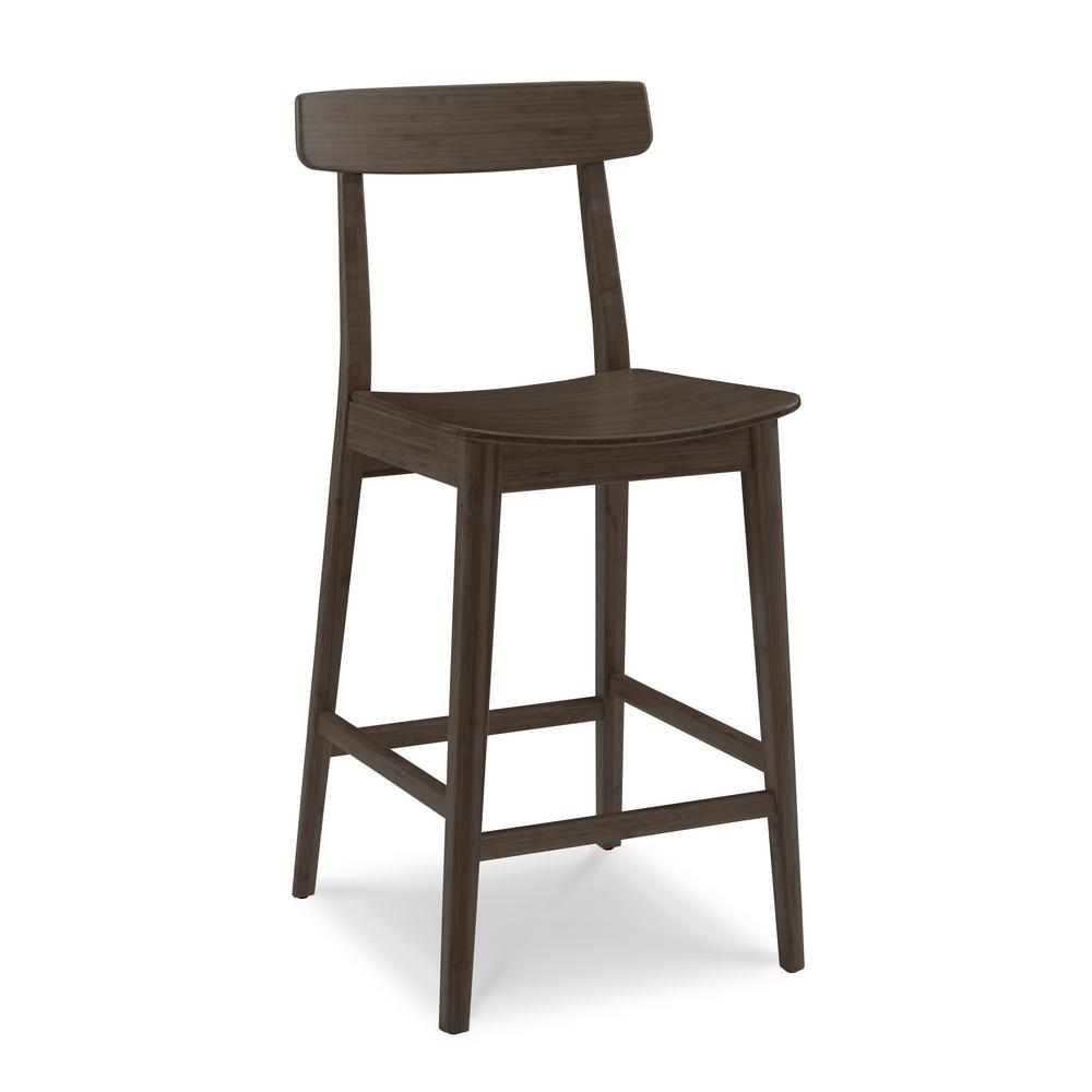 Black walnut 100 solid classic bamboo bar stool with back