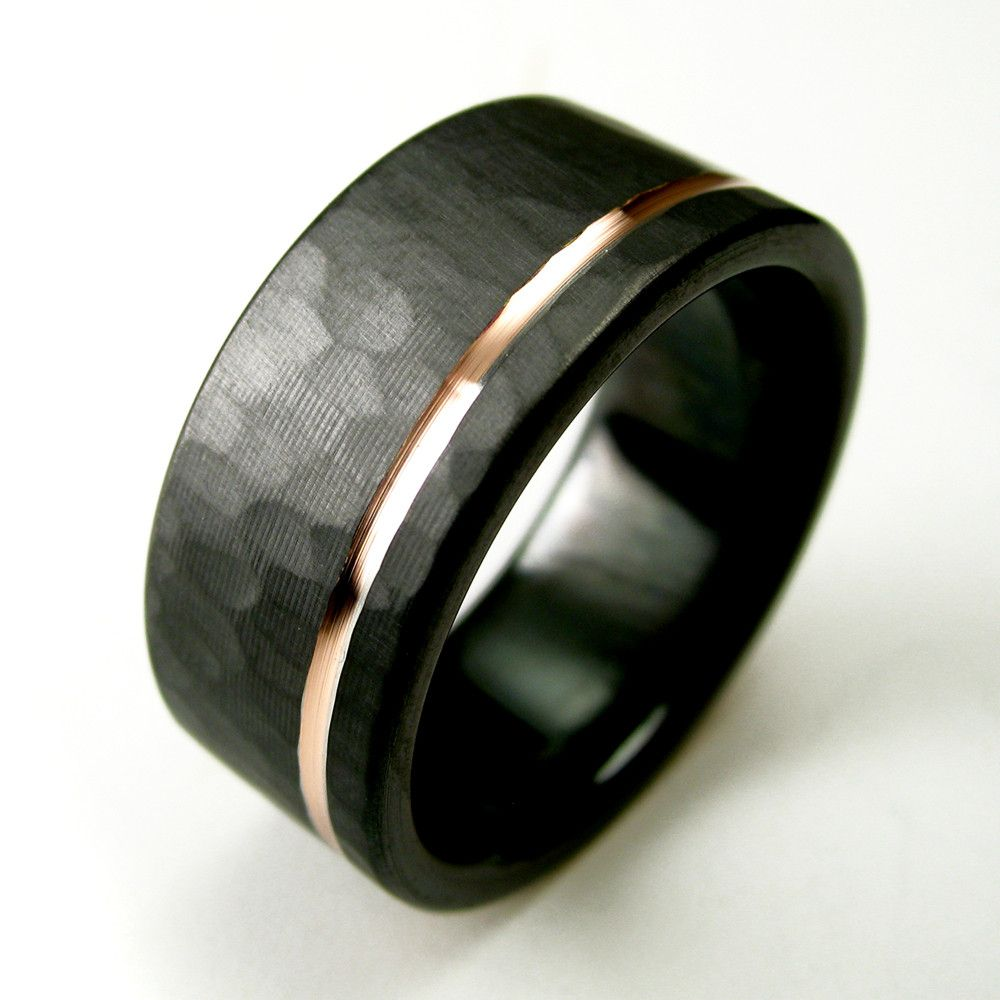 hammered offset rose gold stripe black zirconium ring