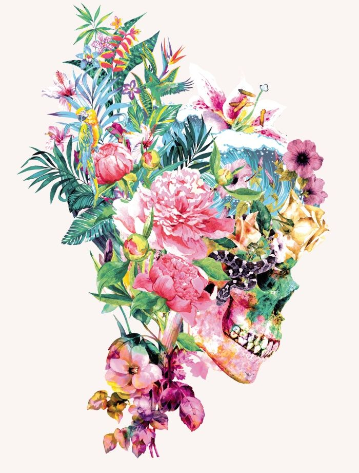 Colorful Floral Skull Illustrations By Riza Peker