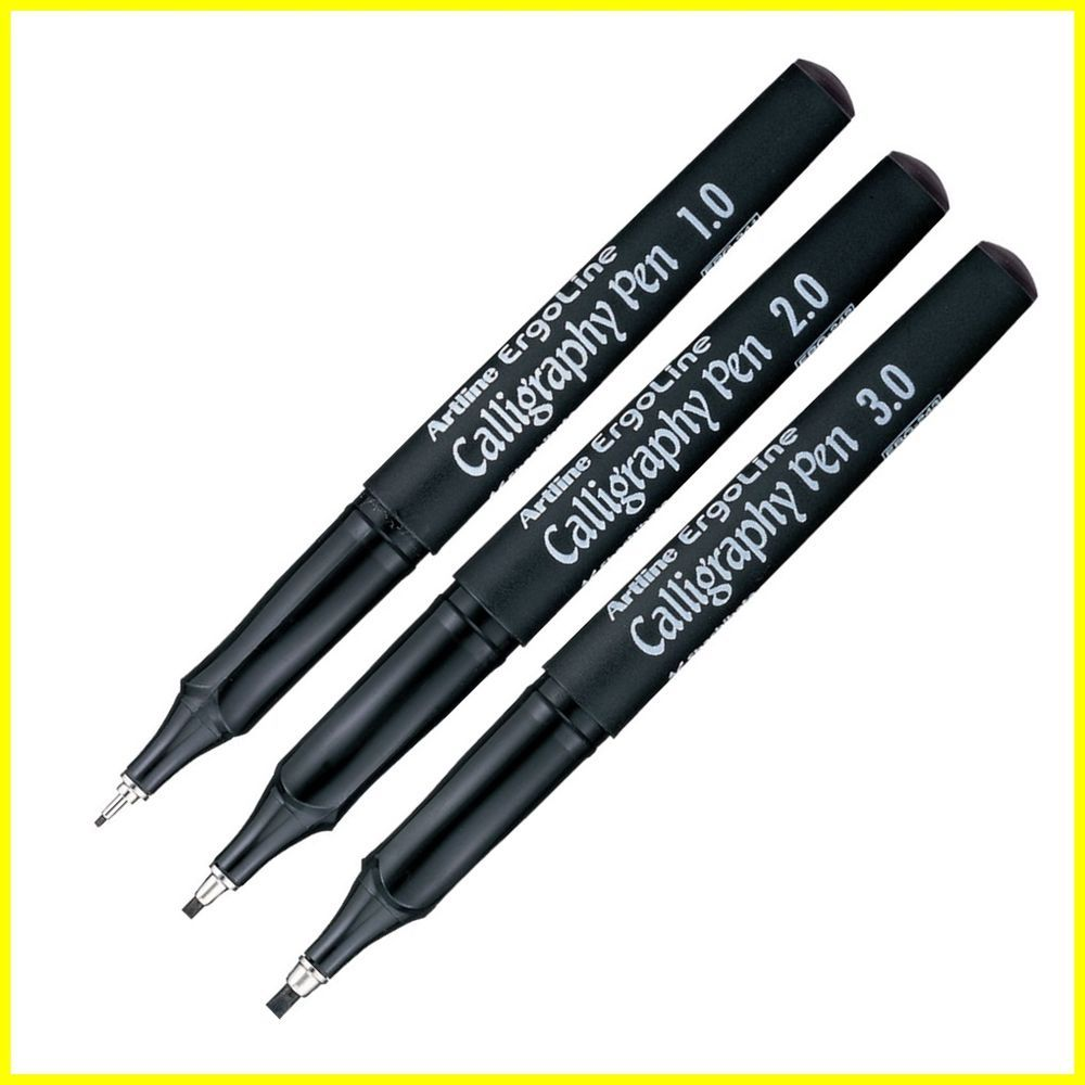 Artline Ergoline Calligraphy Pens 1.00mm, 2.00mm & 3.00mm writing Line width. -- Ergonomically designed for comfort. -- No bleeding through paper and acid free. -- Water based pigment ink with high performance in fadeproof, water and smudge resistant. | eBay!