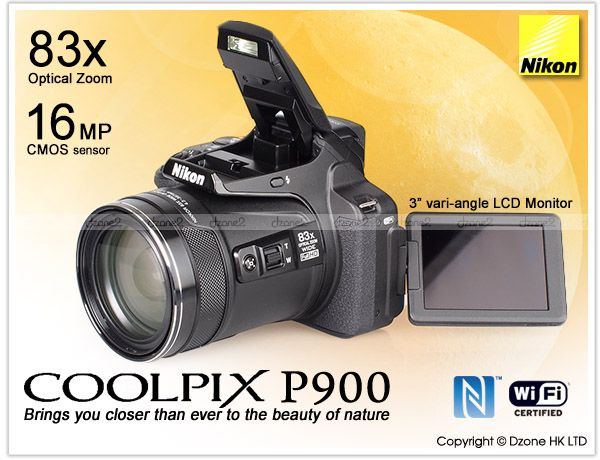 New Nikon COOLPIX P900 Digital Camera 83x Zoom Built In Wi Fi and