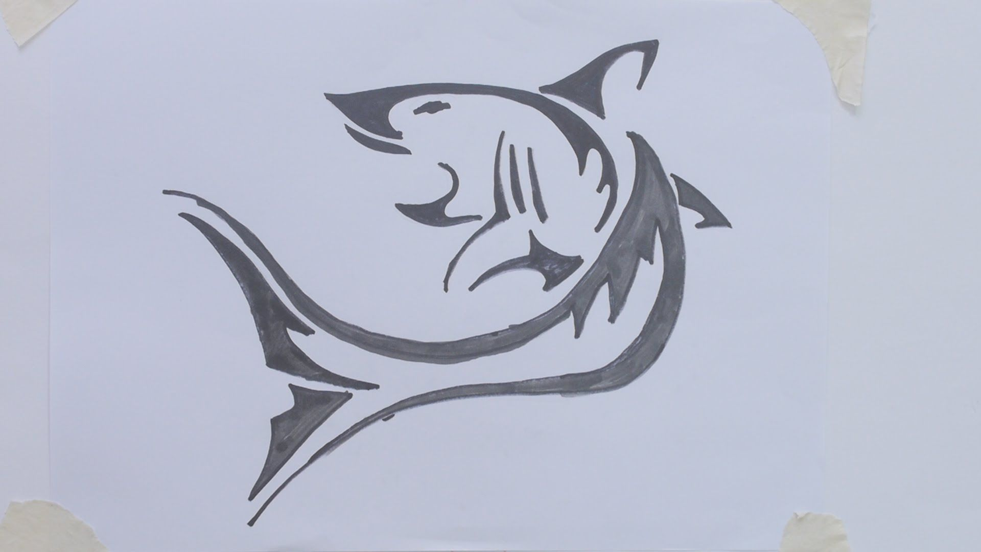 How to draw shark tribal tattoo - YouTube | Sharks | Pinterest ...