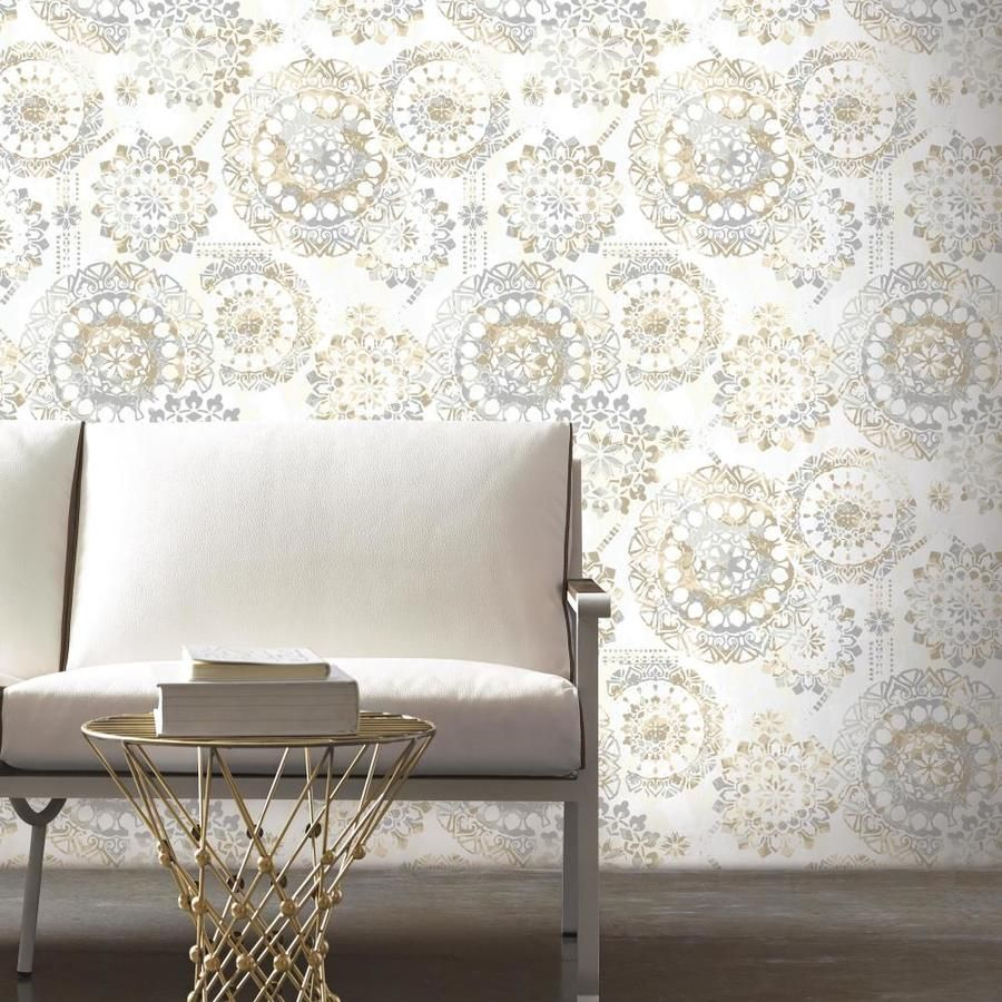 Roommates 28 2 Sq Ft Tan Vinyl Abstract Self Adhesive Peel And Stick Wallpaper Lowes Com Trending Decor Peel And Stick Wallpaper Furniture
