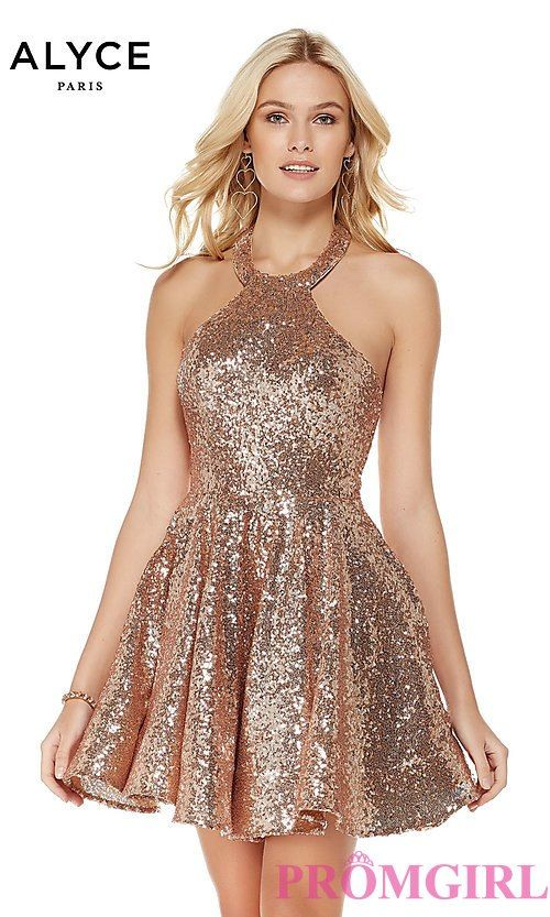 dfdd6f6de7c Rose Gold Short Sequin Homecoming Party Dress in 2019