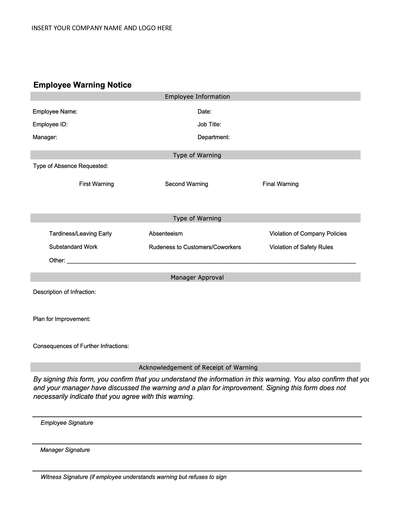 Employee Warning Notice  Employee Forms