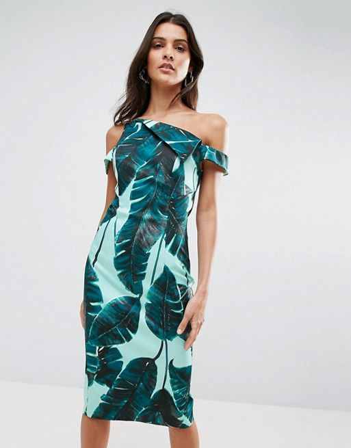 ASOS Palm Leaf Hitchcock Midi Pencil Dress at asos.com