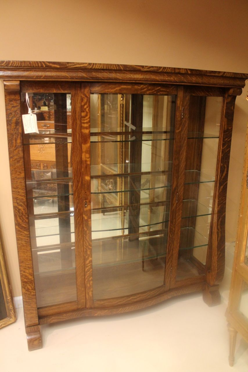 American Empire Tiger Oak Chinacurio Cabinet With Glass Doors And