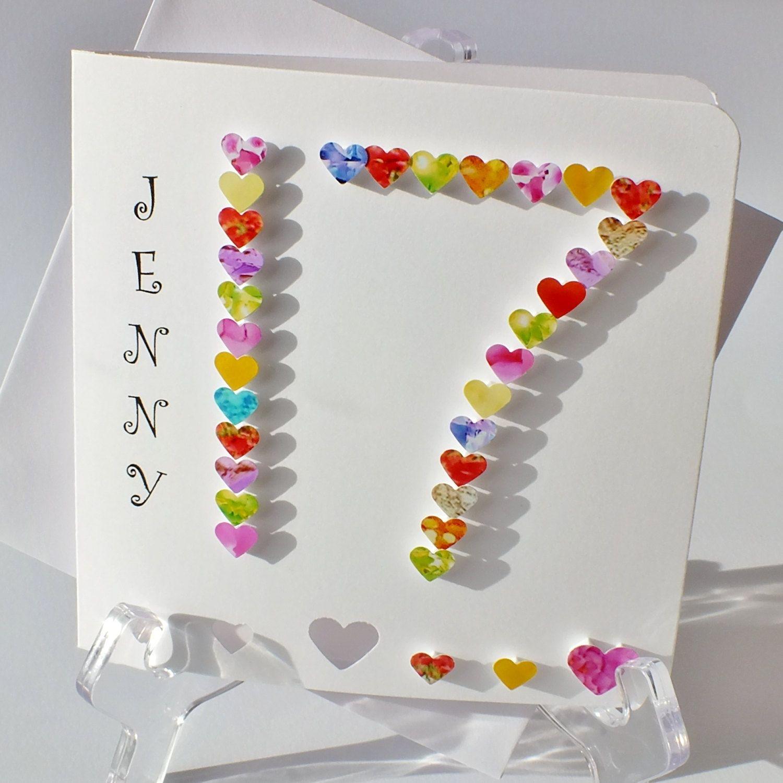 Handmade 3D 17th Birthday Card Personalised Seventeen Years Old Age 17 Boy Girl BHA17 Cards By Gaynor CardsbyGaynor On Etsy