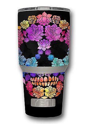 Skin Decal Wrap For Oz Yeti Rambler Tumbler Color Floral Sugar - Sugar skull yeti cup