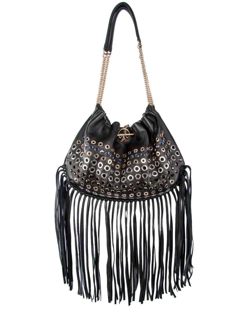 Sonia rykiel black domino fringe shoulder bag anleykorshak