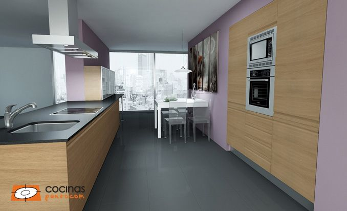 Modelo de #cocina con puerta rumania sipo 050 en color roble de ...