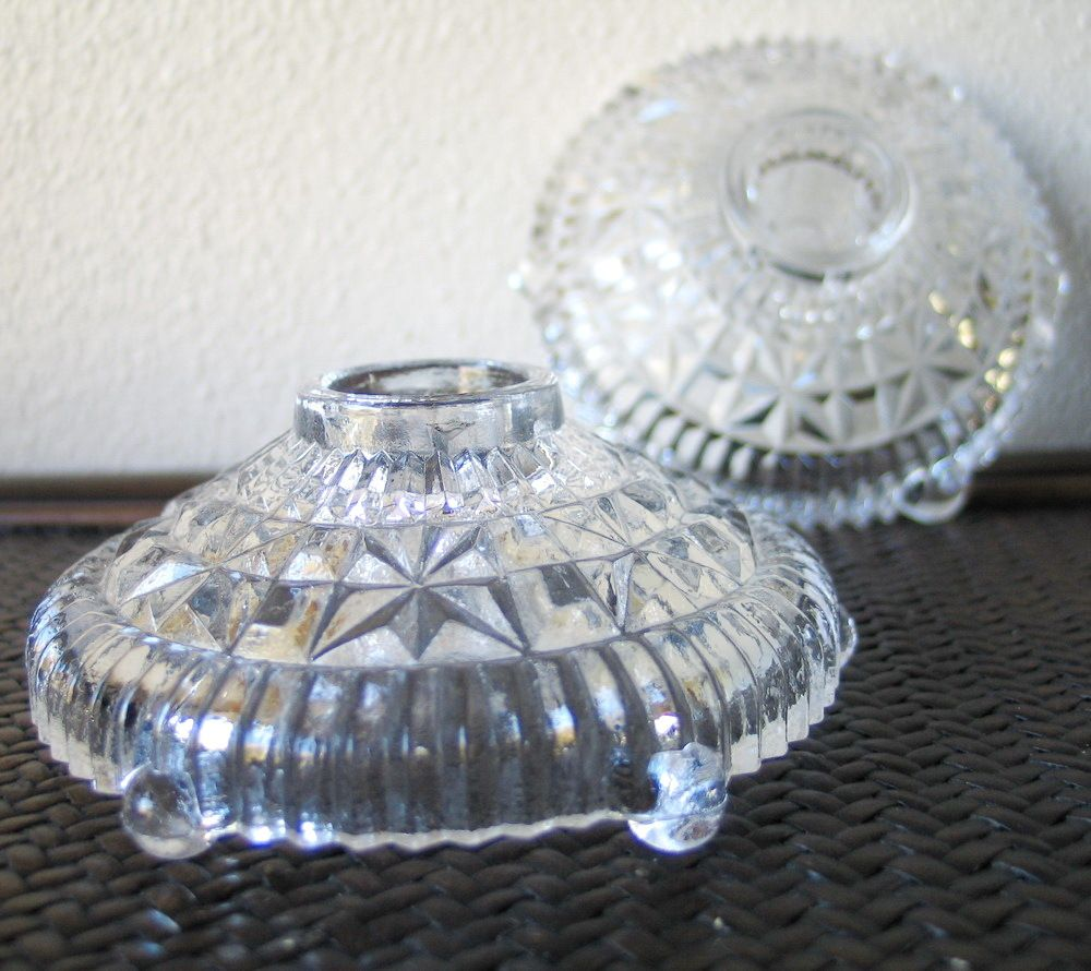 Vintage 1940s Clear Faceted Glass Candle Candlestick Holders Wedding Gift Clear Glass Candle Holders Glass Candle Holders Glass Candlestick Holders