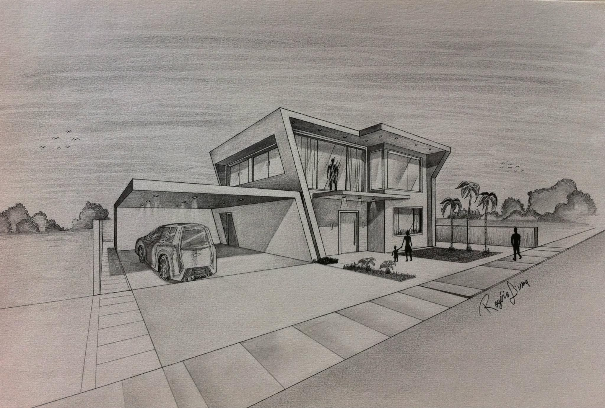 modern concept architectural buildings sketches and