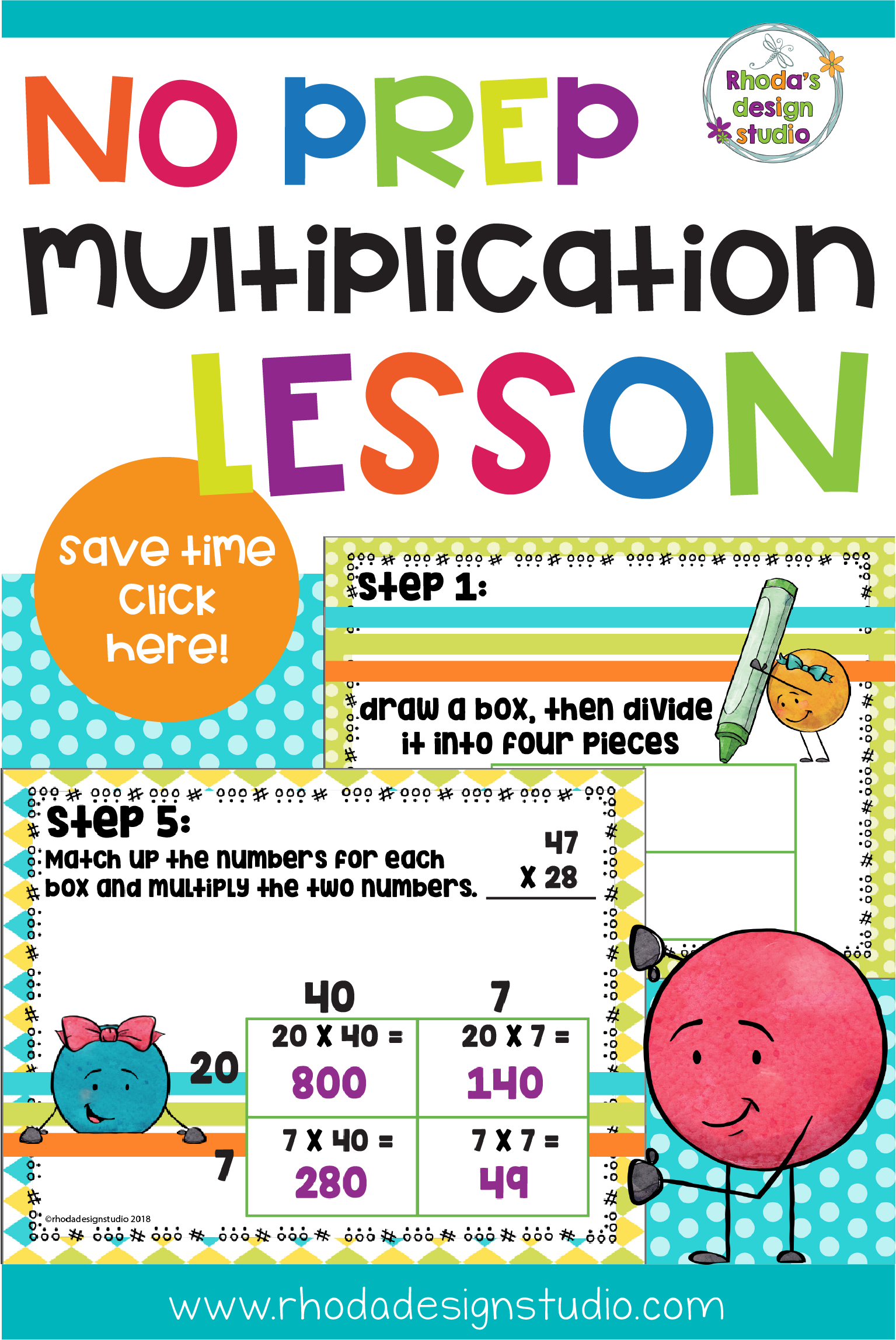 Double Digit Multiplication Area Or Box Model Lesson And