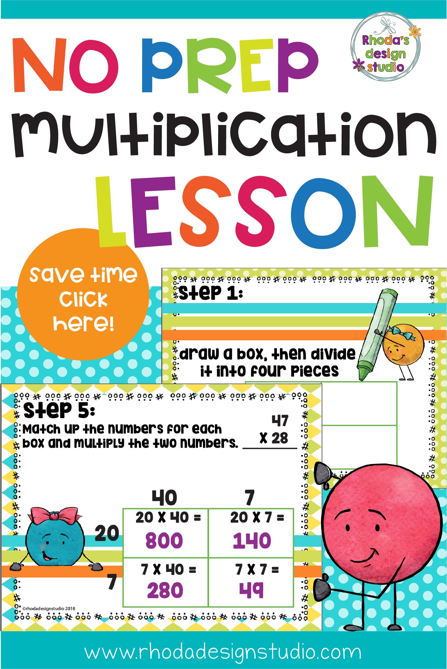 Double Digit Multiplication Area Box Model Lesson