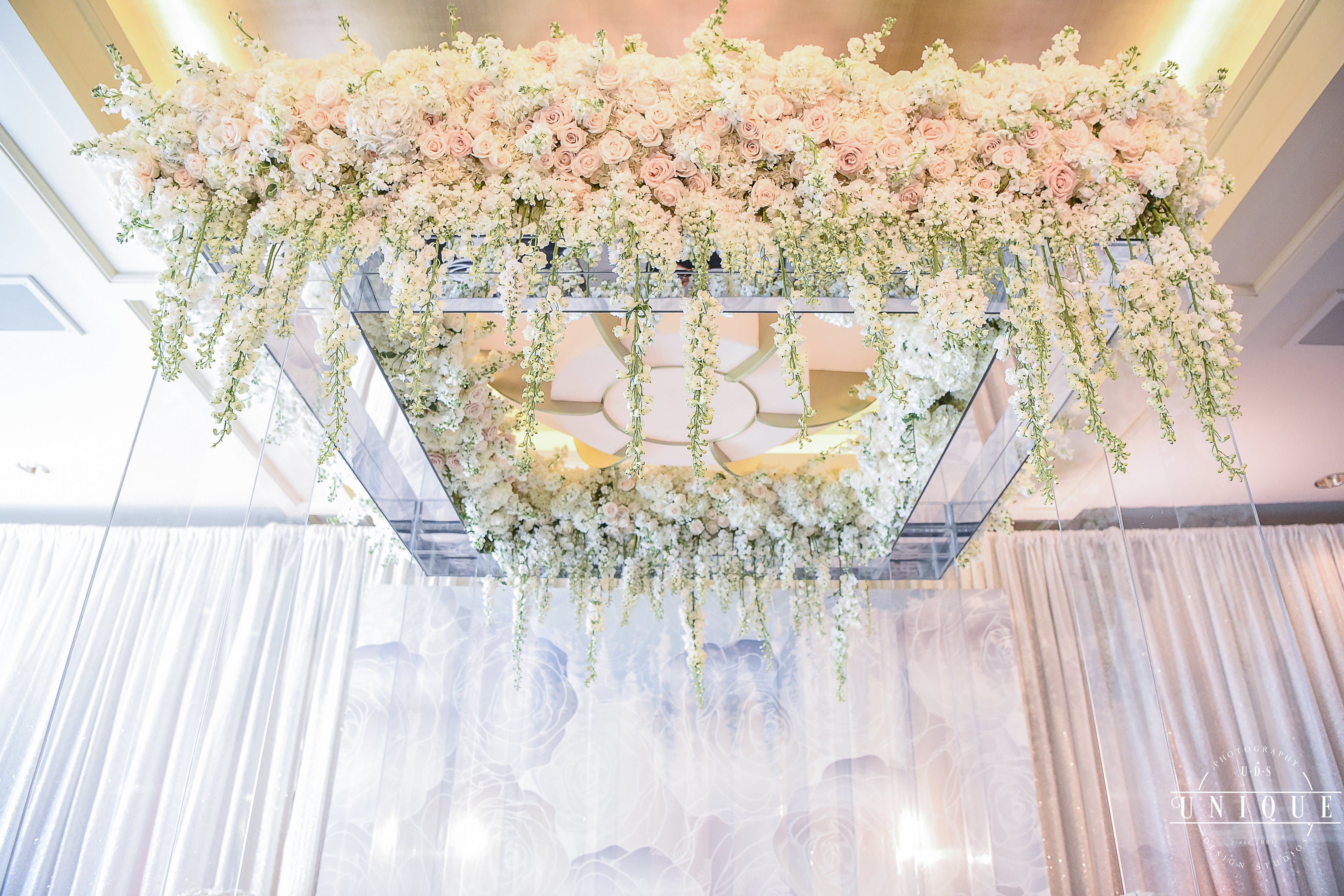 White Pink And Green Dreamy Wedding Party Rentals And Decor By Gilded Group Decor White Wedding Ceremony Wedding Ceremony Decorations Ceremony Decorations