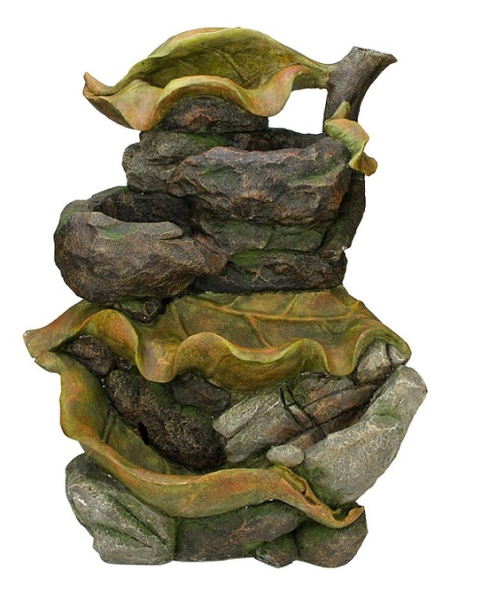 Multi Level Colorful Mossy Leaves & Stone 26.5 Inch Outdoor Fountain